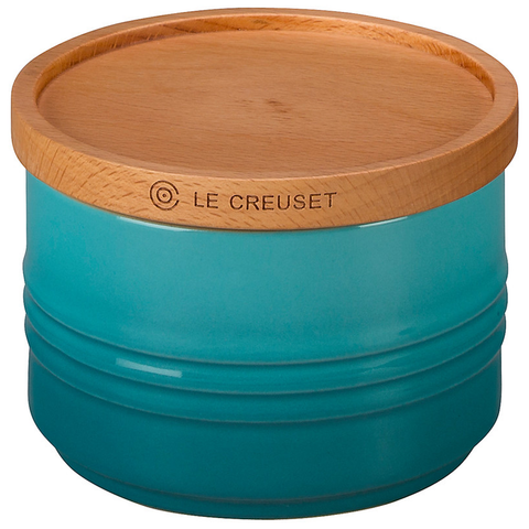 "LE CREUSET OF AMERICA 4"" CANISTER WITH WOOD LID, 12-OUNCE - CARIBBEAN"