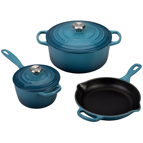 LE CREUSET 5-PIECE SIGNATURE SET, MARINE