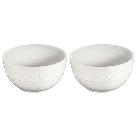 STAUB CERAMIC 2-PIECE LARGE UNIVERSAL BOWL SET - WHITE