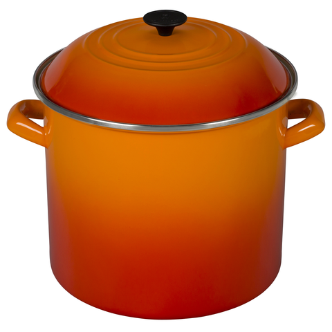 Le Creuset Enamel-on-Steel 16-Quart Covered Stockpot, Flame