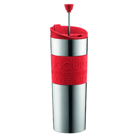 BODUM 15-OUNCE TRAVEL FRENCH PRESS MUG - RED