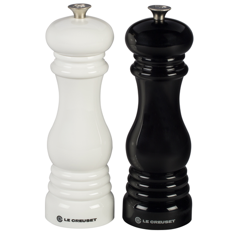 LE CREUSET 8'' X 2 1/2'' SALT AND PEPPER MILL SET - BLACK