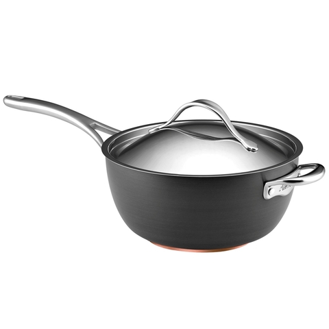 ANOLON 5.5-QUART COVERED SAUCIER WITH HELPER HANDLE, GRAY
