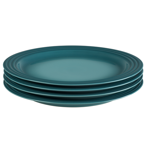 LE CREUSET 10 1/2'' DINNER PLATES, SET OF 4 - CARIBBEAN