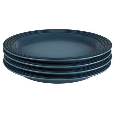 LE CREUSET 10 1/2'' DINNER PLATES, SET OF 4 - MARINE