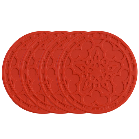 Le Creuset Silicone Set of 4 French Coasters, Cerise