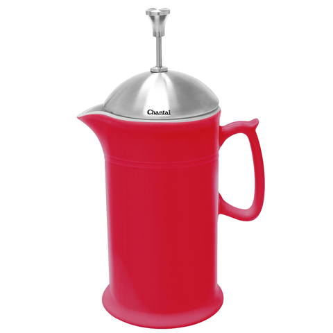 CHANTAL 28-OUNCE CERAMIC FRENCH PRESS W/ SS PLUNGER - RED