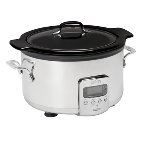 All-Clad SD710851 Slow Cooker with Black Ceramic Insert, 4-Quart, Silver