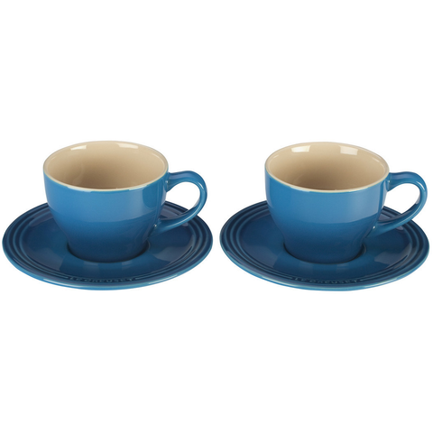 LE CREUSET CAPPUCCINO CUPS AND SAUCERS, SET OF 2 - MARSEILLE