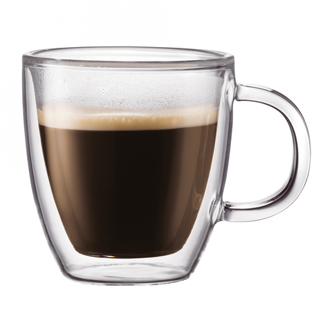 BODUM BISTRO 10-OUNCE DOUBLE WALL GLASS COFFE MUG, SET OF 2