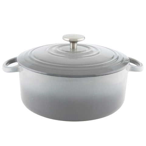 Chantal Round Cast Iron 5-Quart Casserole - Fade Grey