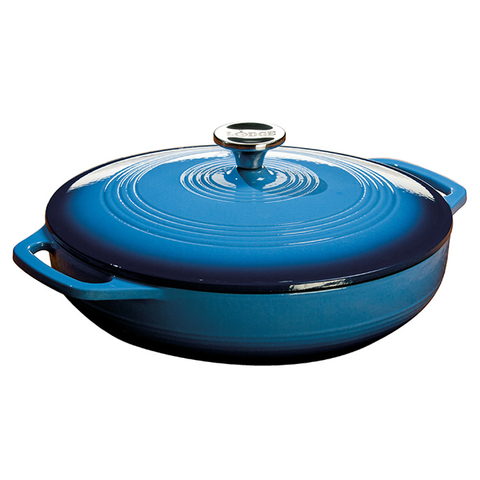 Lodge Color EC3CC33 Enameled Cast Iron Covered Casserole, Caribbean Blue, 3-Quart