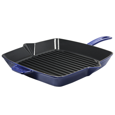 STAUB CAST IRON 10'' SQUARE GRILL PAN - DARK BLUE