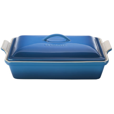 LE CREUSET 12'' X 19'' HERITRAGE COVERED RECTANGULAR CASSEROLE - MARSEILLE