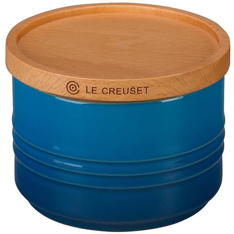 "LE CREUSET OF AMERICA 4"" CANISTER WITH WOOD LID, 12-OUNCE - MARSEILLE"