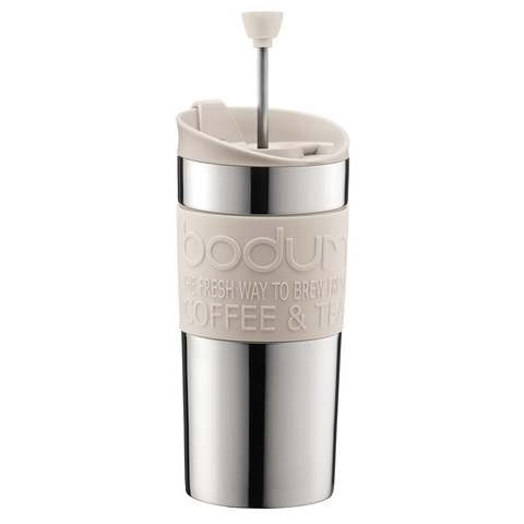 Bodum 15-Ounce Travel French Press Mug, Off-White