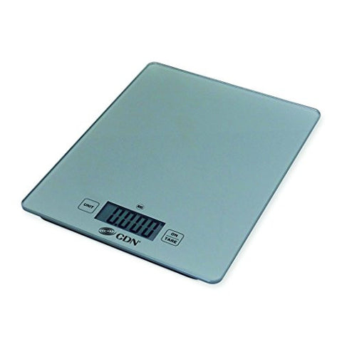 CDN SD1102-S - Digital Glass Scale - Silver, 11 lb, - Kitchen Food Scale