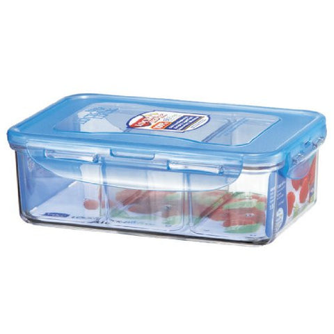 Lock&Lock 33.8-Fluid Ounce Bisfree Rectangular Container with Divider, 4.1-Cup