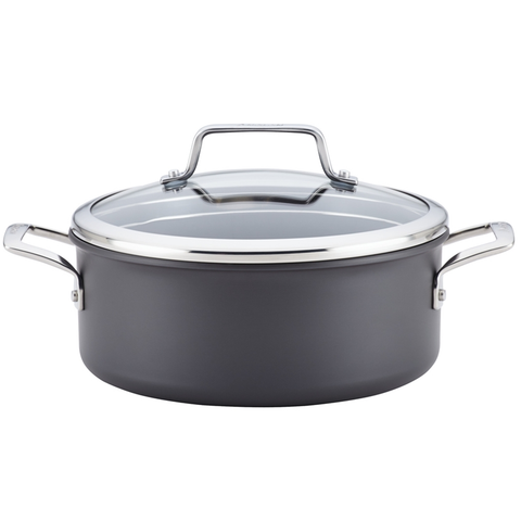 ANOLON AUTHORITY HARD ANODIZED 5-QUART COVERED DUTCH OVEN - GRAY