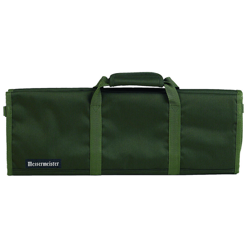 MESSERMAISTER 12-POCKET RED PADDED KNIFE ROLL - OLIVE