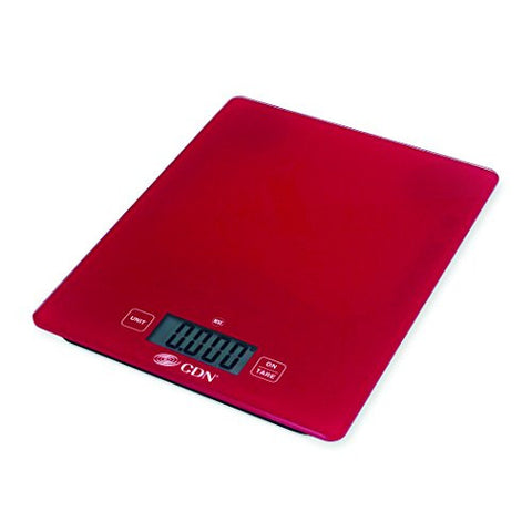 CDN SD1102-R- Digital Glass Scale - Red, 11 lb, - Kitchen Food Scale