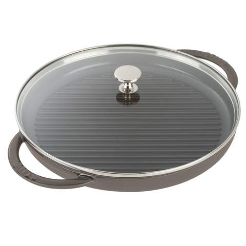 STAUB CAST IRON 12'' ROUND STEAM GRILL - GRAPHITE GREY