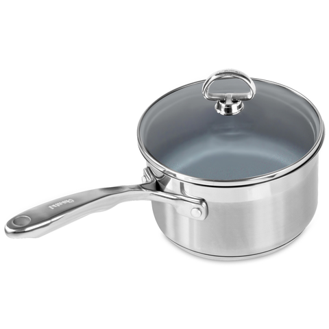 CHANTAL INDUCTION 21 STEEL 2-QUART SAUCEPAN WITH CERAMIC COATING AND GLASS LID