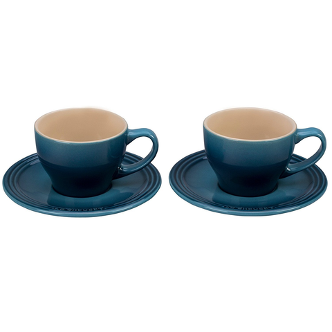 LE CREUSET CAPPUCCINO CUPS AND SAUCERS, SET OF 2 - MARINE