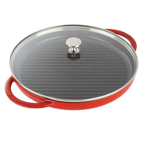 STAUB CAST IRON 12'' ROUND STEAM GRILL - CHERRY