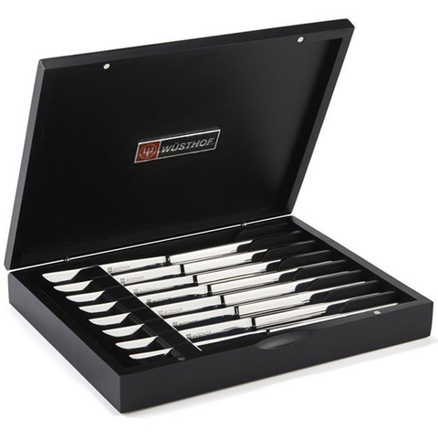 WUSTHOF STAINLESS EIGHT PIECE STEAK KNIFE SET IN BLACK CHEST