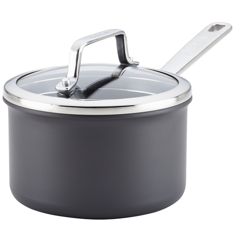 ANOLON AUTHORITY HARD ANODIZED 2-QUART COVERED SAUCEPAN - GRAY