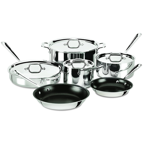 ALL-CLAD STAINLESS STEEL 10-PIECE COOKWARE NONSTICK SET
