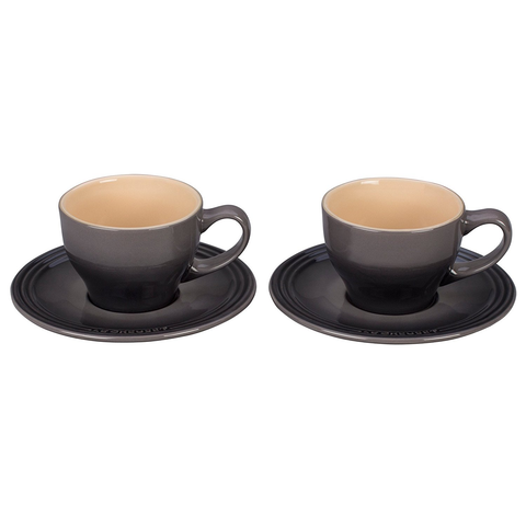 LE CREUSET CAPPUCCINO CUPS AND SAUCERS, SET OF 2 - OYSTER
