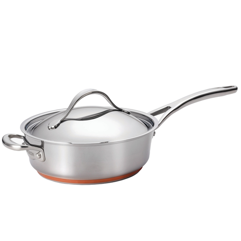 ANOLON 3-QUART COVERED SAUTE WITH HELPER HANDLE
