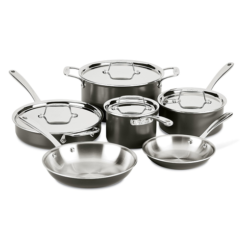 ALL-CLAD STAINLESS STEEL HARD ANODIZED 10-PIECE COOKWARE SET