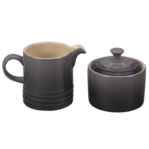LE CREUSET CREAM AND SUGAR SET, OYSTER