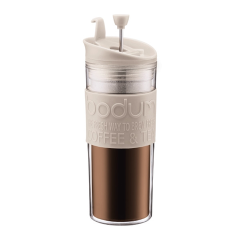 BODUM 15-OUNCE TRAVEL FRENCH PRESS MUG - OFF WHITE