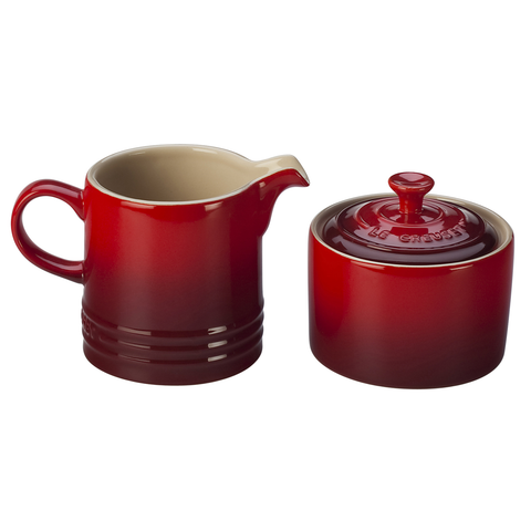 LE CREUSET CREAM AND SUGAR SET - CERISE