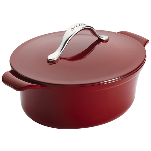 ANOLON 4-QUART OVAL COVERED CASSEROLE, PAPRIKA RED