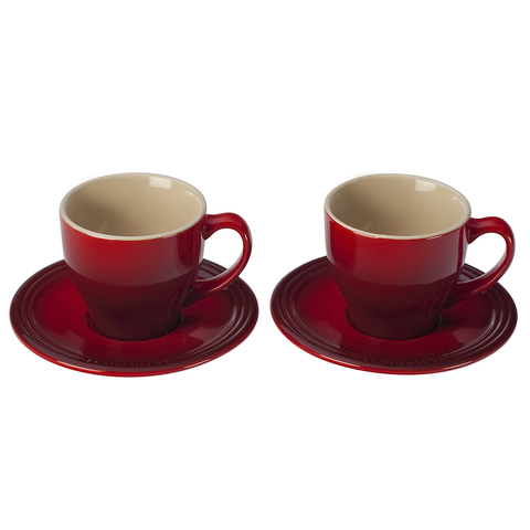 Le Creuset Stoneware Set of 2 Cappuccino Cups and Saucers, Cerise