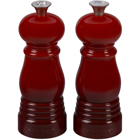 LE CREUSET PETITE SALT AND PEPPER MILL SET - CERISE