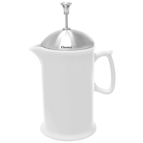 Chantal 28-Ounce Ceramic French Press W/ Ss Plunger - White
