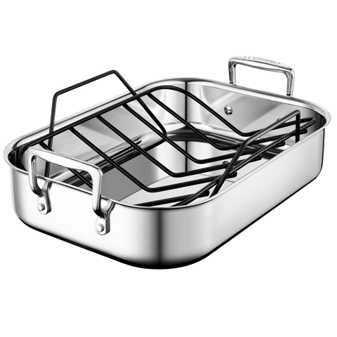 LE CREUSET STAINLESS STEEL ROASTING PAN WITH NONSTICK RACK