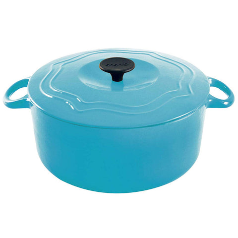 Chantal Round Cast Iron 7-Quart Casserole - Sea Blue
