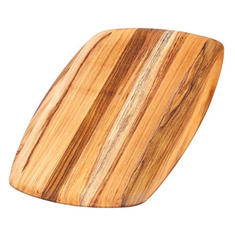 Teak Cutting Board - Rectangle Serving Platter With Rounded Edges (16 x 11 x .55 in.) - By Teakhaus