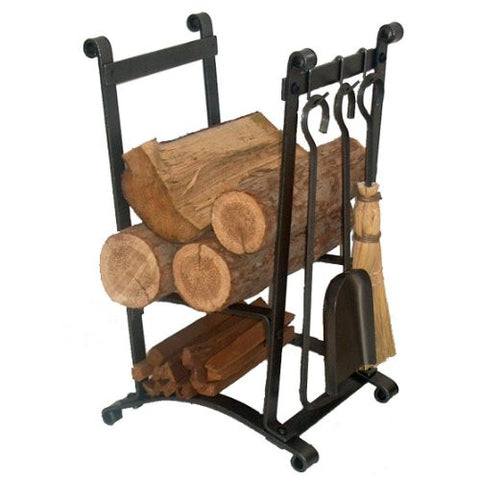 Enclume Compact Curved Log Rack with Fireplace Tools, Hammered Steel