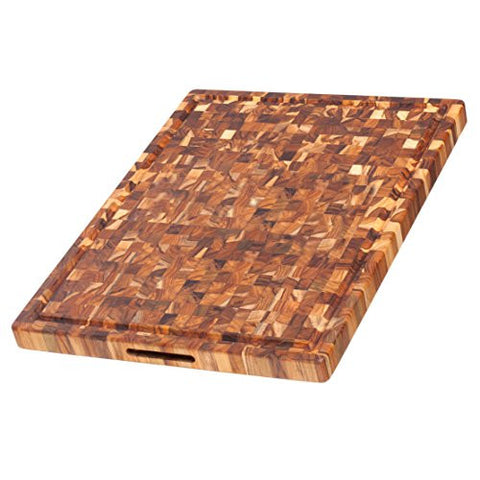 Teak Cutting Board - Rectangle Butcher Block With Juice Canal And Hand Grips (24 x 18 x 1.5 in.) - By Teakhaus