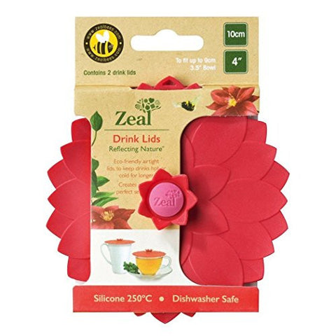 "Zeal Reflecting Nature 4"" Flower Push to Seal Silicone 2pk Drink Lids (Red)"