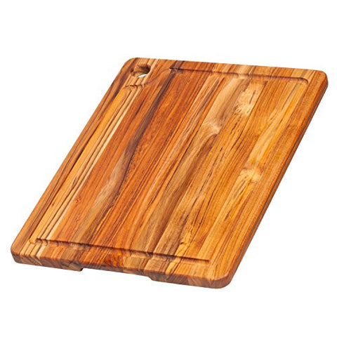 Teakhaus Rectangle Edge Grain Cutting Board With Corner Hole And Juice Canal, 16 x 12 x 0.75-Inch