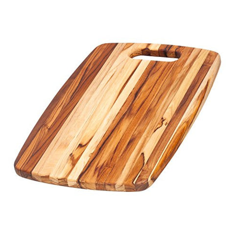 Teak Cutting Board - Rounded Rectangle Chopping Board With Centered Handle (18 x 12 x .75 in.) - By Teakhaus